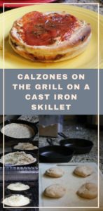 calzones on the grill on a cast iron skillet