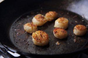 scallops in cast iron pan