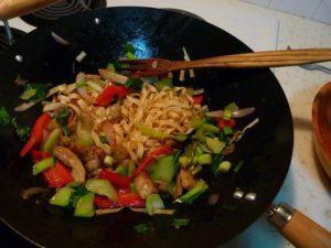 food in wok