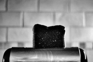 burned toast in toaster