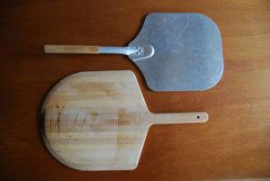 wooden and aluminum pizza peels