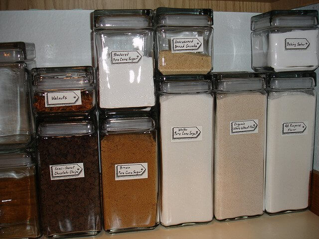 You can buy or repurpose old containers to store your baking supplies.