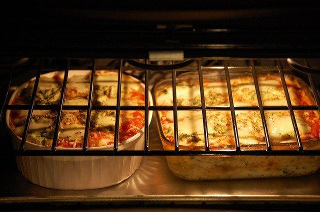 lasagna pans in oven