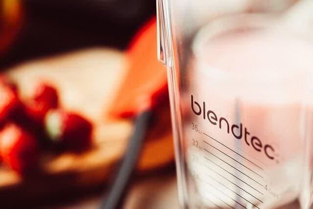 closeup of blendtec blender