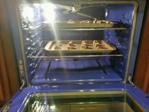 cookie sheets in oven