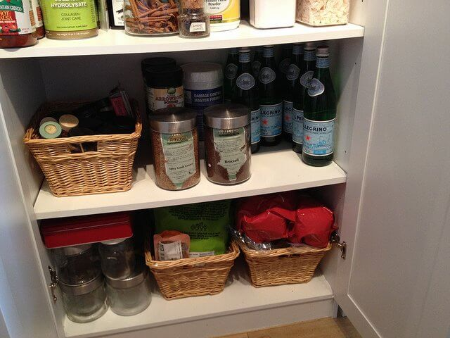 Pantry pro tip: Store like items in bins and baskets.