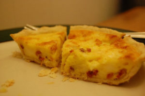 quiche and a fork