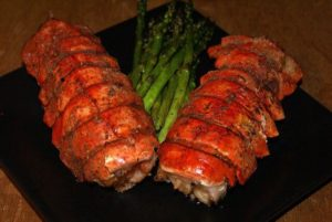 Grilled lobster tails make for a decadent treat!