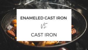 enameled cast iron vs. cast iron text skillet behind