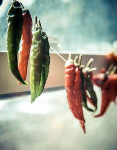 String up your chillies and use the sun to dry them out!