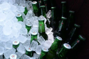beer bottles iced over