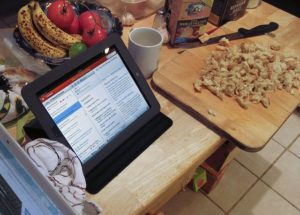 Having the iPad at your fingertips can be a great help while cooking.