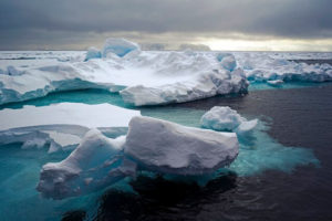 crisp icebergs in water scene similar to cold interior of an insulated tumbler