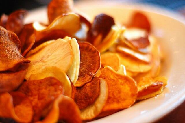 Plantain and sweet potato chips. Delicious. And easy with a good mandaline slicer.