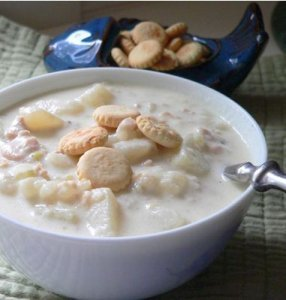 Clam Chowder Soup in a Bowl