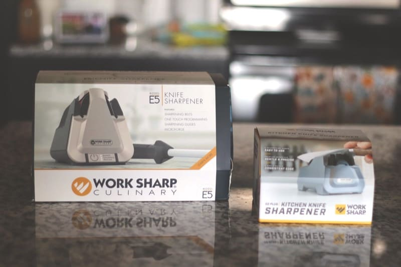 work sharp culinary package and kitchen knife sharpener on kitchen counter