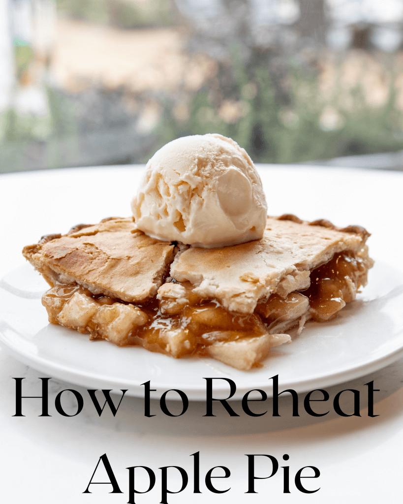 slice of apple pie with scoop of vanilla ice cream on white plate