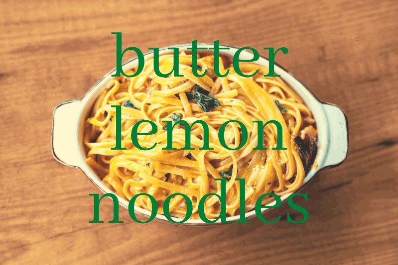 white casserole dish with butter lemon noodles