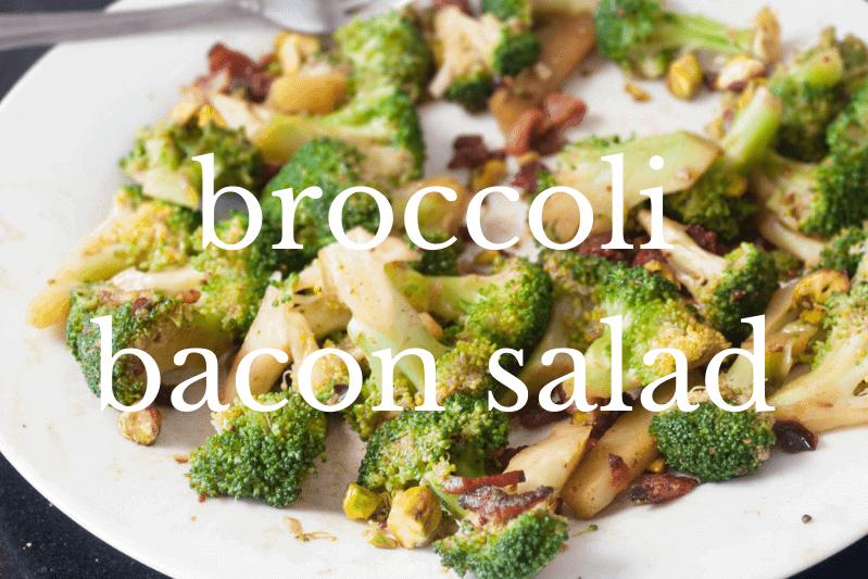 broccoli bacon salad on white plate