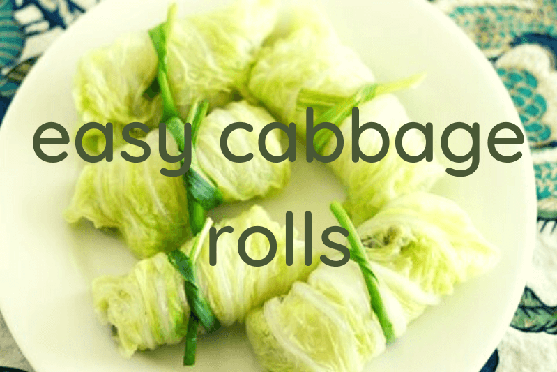 cabbage rolls on white plate