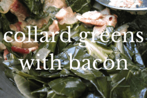 close up of collard greens and bacon