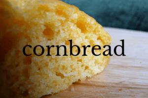 slice of cornbread on white dish