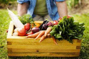 man holding box of fresh produce veggies