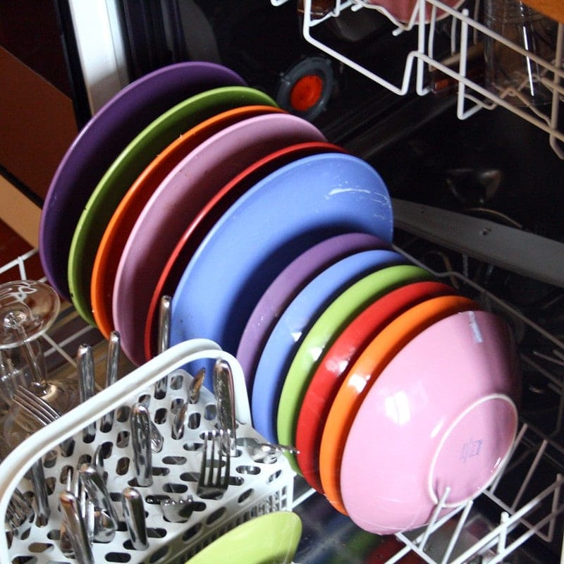 colorful dishes in dishwasher
