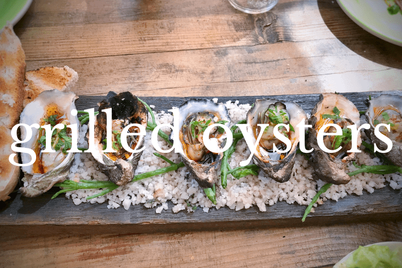 rectangular dish of grilled oysters
