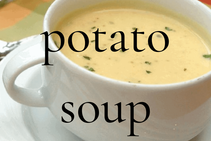 white mug of potato soup