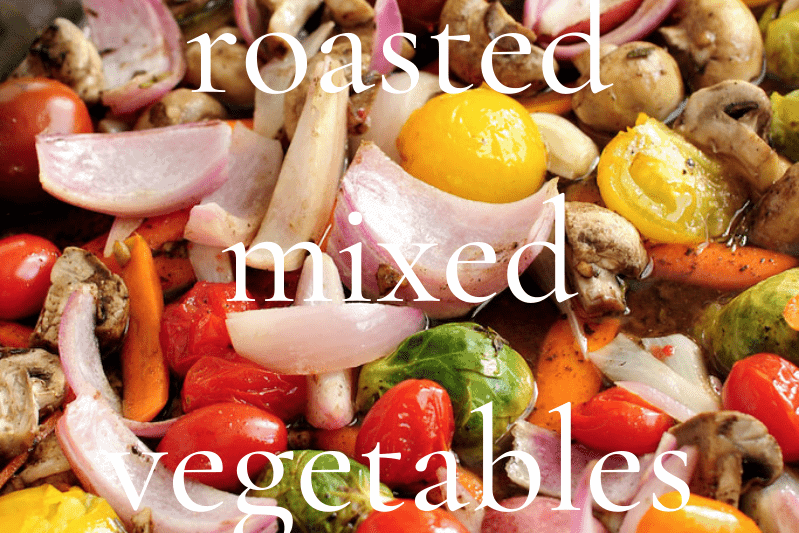 pan full of various roasted vegetables
