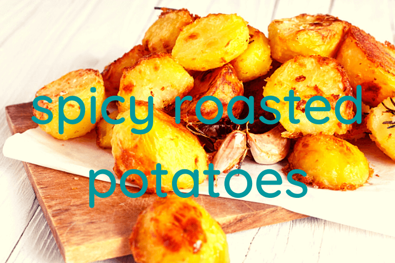 roasted potatoes on white plate