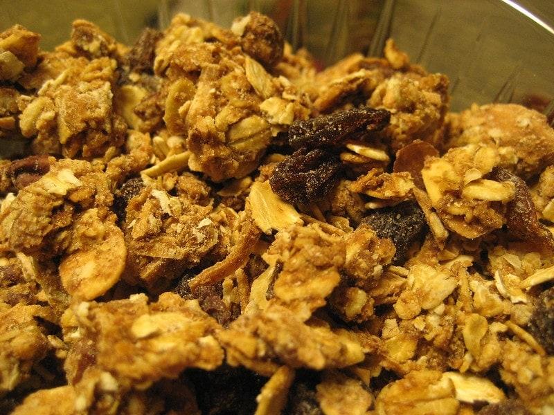 close up of chunky granola
