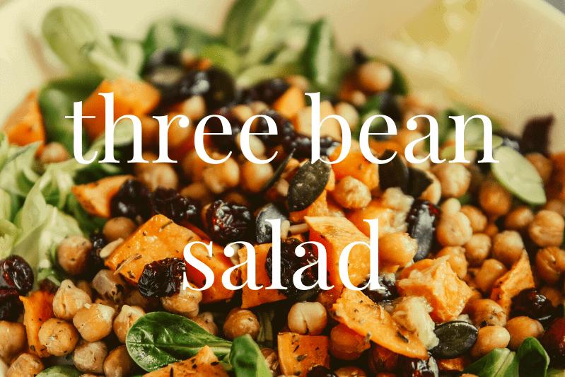 close up of three bean salad