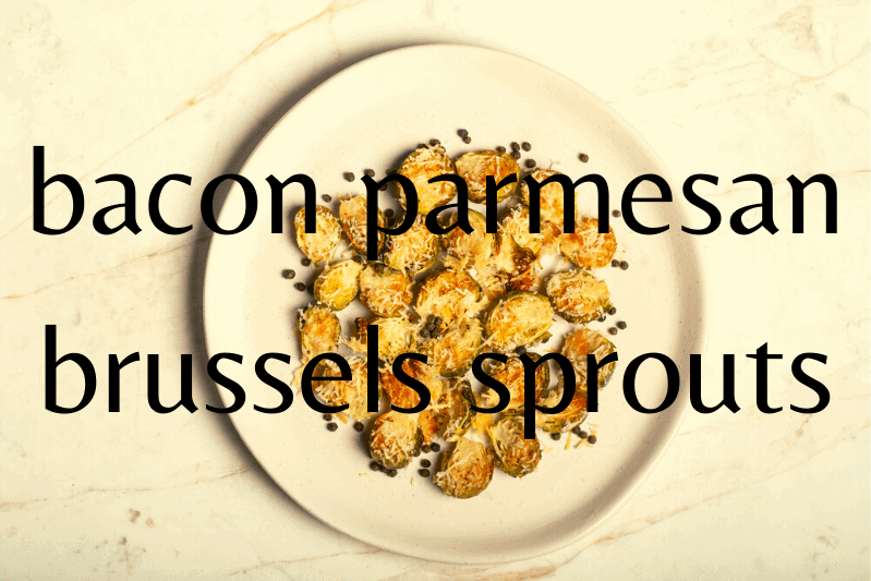 brussels sprouts with parmesan and peppercorns on white plate