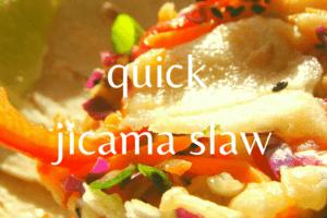 close up of jicama slaw