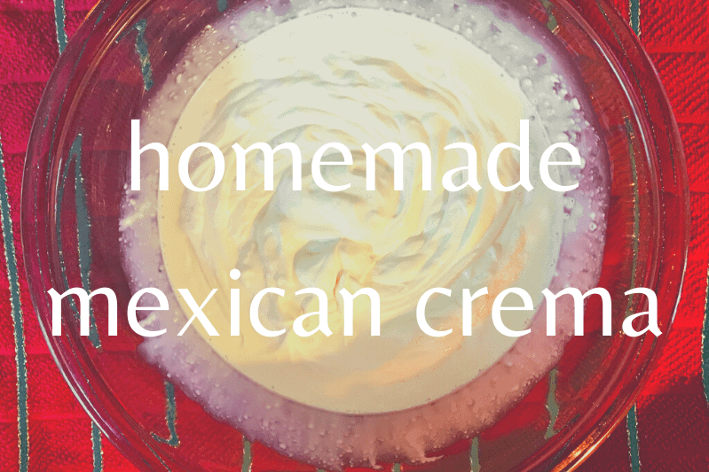 bowl of mexican crema on red table