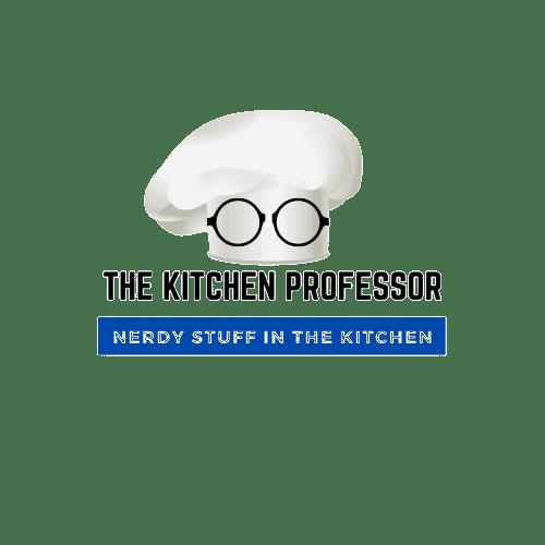 kitchen professor chef's hat with nerdy glasses blue logo tagline